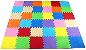 BalanceFrom Kid's Puzzle Exercise Play Mat with High Quality EVA Foam Interlocking Tiles, Multi Color