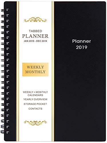 2019 Planner - Weekly & Monthly Planner 2019, Flexible Cover, 12 Monthly Tabs, Twin-Wire Binding with Two-Sided Inner Pocket, 5
