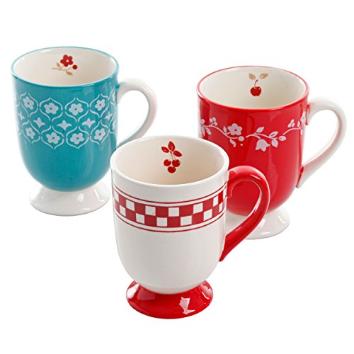 General Store by Gibson Cherry Diner 16 oz Pedestal 3 Assorted Designs Hand Painted Durastone Mug Set, Red