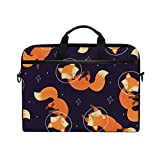 MAHU Laptop Sleeve Case Bag Animal Fox Star Space Messenger Bag Travel Briefcase with Shoulder Strap for 14-14.5 inch Lenovo Dell HP MacBook