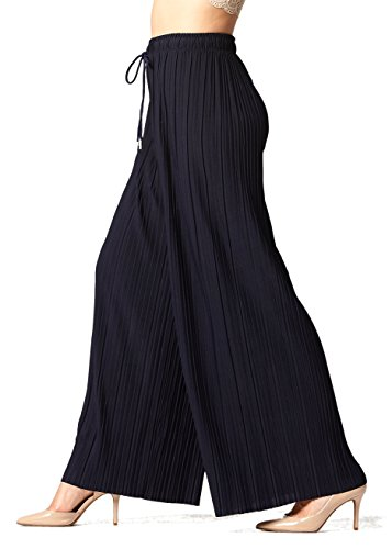 (Conceited Women's High Waisted Wide Leg Pleated Palazzo Pants - Solid Navy Blue - One Size - 902-Navy)