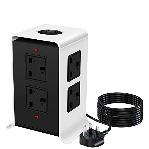 bedee Tower Power Strip Extension Cord, 8 Way Outlets 4 USB Ports Tower Extension Lead with Surge Protection Overload Protection, 3M / 9.8FT Extension Plug Lead with USB Slots