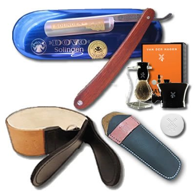DOVO 5/8 Redwood Handle Straight Razor Luxury Shave Set