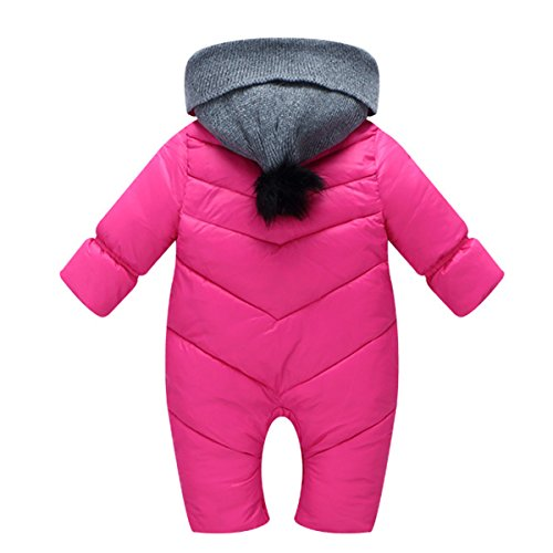 Happy Hooded Baby Rose Thick Red Jumpsuit Romper Cherry Winter Snowsuit Infant Newborn Outerwear Coat TrTqX