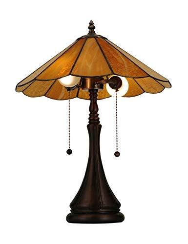 "Meyda Tiffany 138208 Panel Honey Amber Table Lamp, 20.25""H"