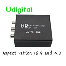 Udigital mini Update RCA/AV CVBS Composite Video to HDMI Converter/Adapter support 16:9 and 4:3 aspect ratio All metal Black