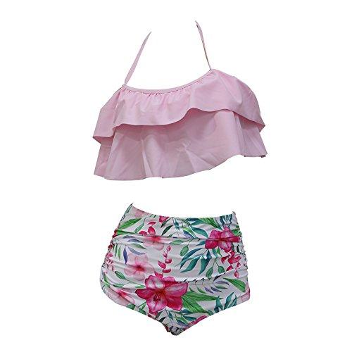 da con bagno spalle del a delle balneare Bikini doppio costume donne sexy spiaggia vita Swim da alta bagno LPink Wear XL Ruffle Suits Eolunt Costumi wO4Ipqp7