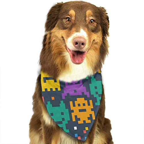 FRTSFLEE Dog Bandana Pixelated Monster Scarves Accessories Decoration for Pet Cats and Puppies -
