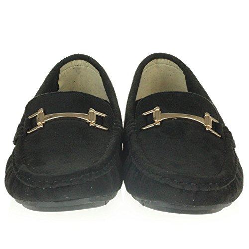 Frau Damen Komfort Büroarbeit Loafer Mokassins Geschlossene Zehe Flach Schlüpfen Schuhe Größe Schwarz