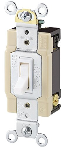 42-7W-Box 15-Amp 120V Standard Grade 4-Way Toggle Switch with Push and Side Wiring, Grounding, White (Standard 4 Way)