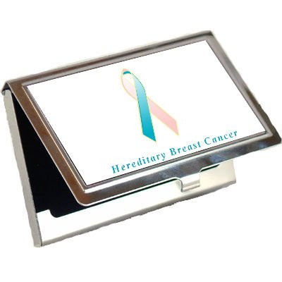 Hereditary Breast Cancer Awareness Ribbon Business Card Holder