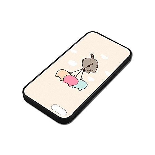 Cover iPhone SE Case,Pusheen Cat [PC+ TPU] Case Cover iPhone SE Anti-Scratch Shock-Absorbing Bumper Back Panel Protective Cover B3H4ICG