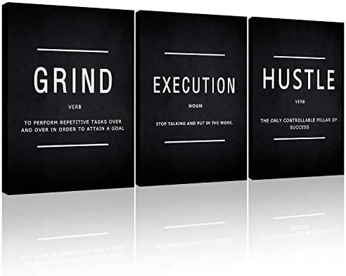 Generies Canvas Painting Wall Art Grind Hustle Execution Motivational Wall Art Decoration Posters Prints for Living Room Bedroom Office Decor Gallery-Wrapped Canvas Art Set Framed 3PCS