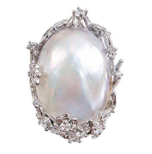 Pearl Cultured Brooch Gold (Very Big White Baroque Freshwater Cultured Pearl Ring for Women)