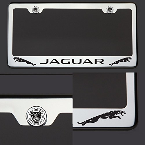 One Laser Engraved Black Jaguar Mirror Stainless Steel License Plate Frame Holder Front Or Rear Bracket Steel Screw Cap by Circle Cool