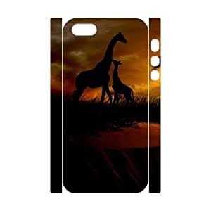 3D Bumper Plastic Customized Case Of Giraffe for iPhone 5,5S
