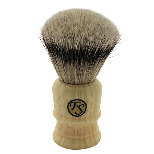 Density 26MM Silvertip Badger Hair Shaving Brush Classic Faux Ivory Handle Free Stand ()
