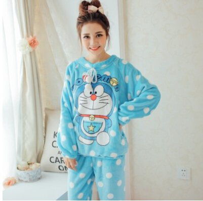 18d3a405e5e Image Unavailable. Image not available for. Color  MH-RITA Autumn Winter  Flannel Pajamas Thickening Women Sleepwear Female Coral Fleece Cartoon Pajama  Sets