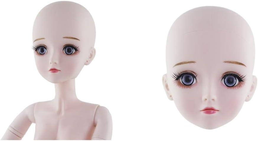 HomeDecTime 2 Pcs 1//3 T/ête de Poup/ée avec Yeux 4D Bricolage Accessoire pour BJD Dolls Filles