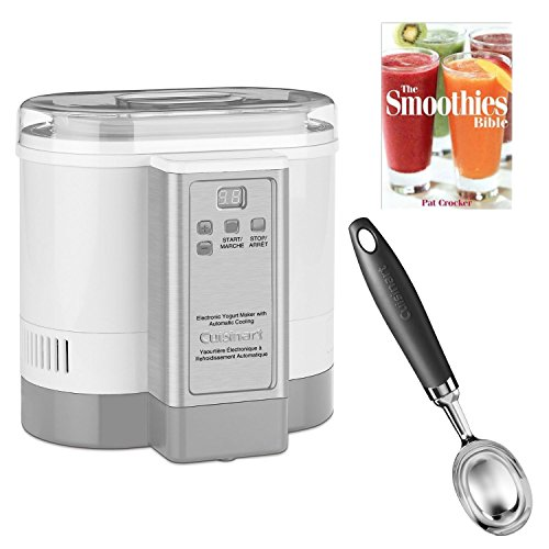 Cuisinart CYM100 Electronic Yogurt Maker w/ Ice Cream Scoop and The Smoothies Bible By Pat Crocker