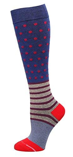 (Ladies Fashion Therapeutic Compression Socks (Blue Dots-Stripes))