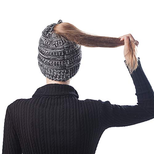 High Bun Messy Ponytail Beanie Hat Soft Stretch Cable Knit Winter Womens Warm Horse Tail Cap (Tone ()