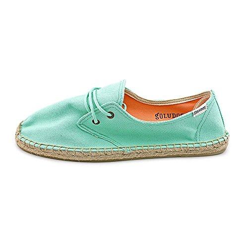 Soludos Lace Up Espadrille Womens Size 6 Blue Canvas Espadrilles Shoes