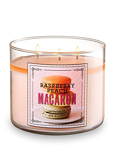 - Bath and  Body Works Raspberry Peach Macaron 3 Wick 14.5 Ounces Scented Candle Sweet Shop Collection