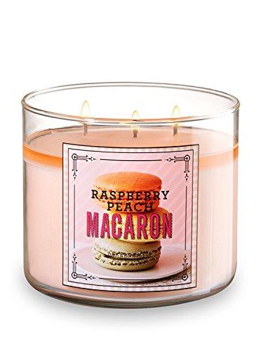 Bath and  Body Works Raspberry Peach Macaron 3 Wick 14.5 Ounces Scented Candle Sweet Shop - Bath Peach