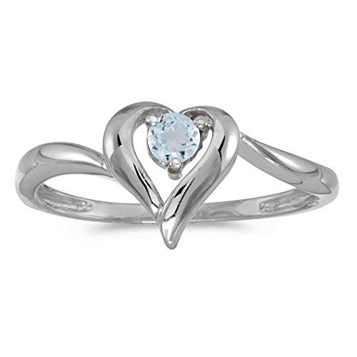 (FB Jewels 10k White Gold Genuine Birthstone Solitaire Round Aquamarine Heart Wedding Engagement Statement Ring - Size 7 (1/5 Cttw.) )