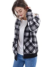 ZENTHACE Women's Sherpa Lined Zip Up Hooded Plaid Shirt Jac Sweater Jacket