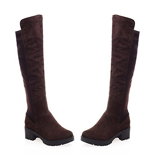 AgooLar Women's High Top Solid Pull On Round Closed Toe Kitten Heels Boots Brown n9Lyi