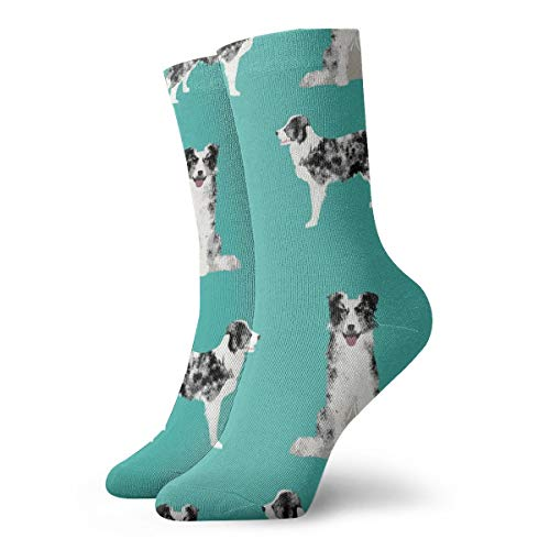 Border Collie Fabric Blue Merle Dog Fabric Crew Cushion Athletic Casual cotton Socks for Men & Women