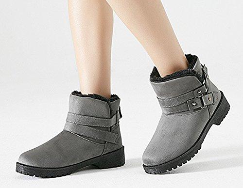 Aisun Chaussures De Hiver Femme Gris Bottines Confortable Rond Bout EqwHErnWt