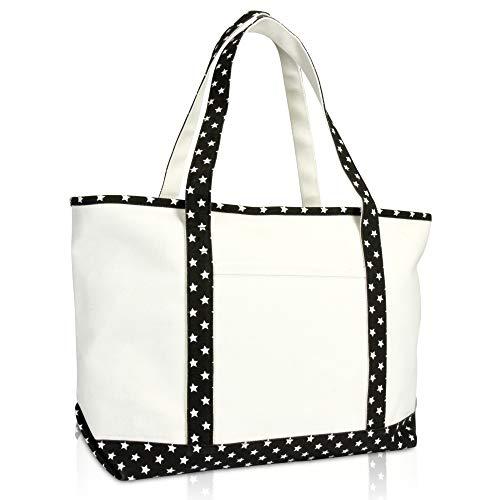 DALIX 23 Premium 24 oz. Cotton Canvas Shopping Tote Black Star
