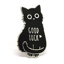 Cat Enamel Pin Black Cat Lapel Pin Good Luck Lucky Charm Pin