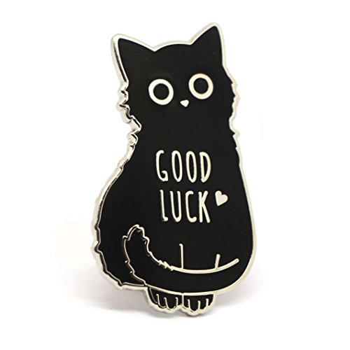 Enamel Cat Pin (Cat Enamel Pin Black Cat Lapel Pin Good Luck Lucky Charm Pin)