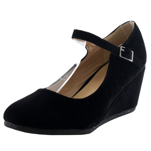 Forever Link Womens Patricia-05 Mary Jane Strap Faux Suede Wedge Pumps,Black Suede,6.5