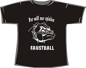 Der will nur spielen, Faustball; T-Shirt schwarz, Gr.XL
