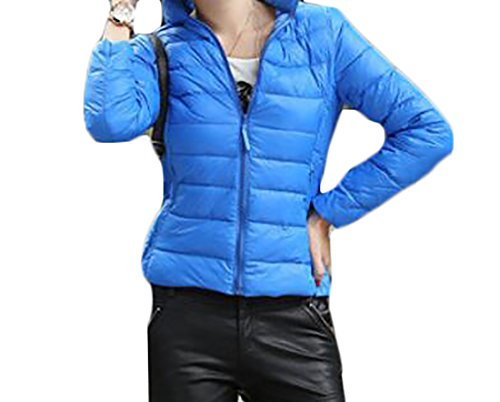 UUYUK Womens Winter Thicken Zipper Packable Stand Collar Coat Puffer Jacket Royal blue US XL by UUYUK-Women