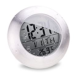 "hito 6.8""Large Waterproof Bathroom Shower Clock Wall Silver Aluminum Date Day Indoor Temperature Suction Cup and Stand (Aluminum finish)"