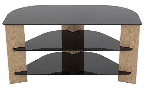 AVF FS900VAROB-A Varano Corner TV Stand, Oak and Black - Technology Oak Stand Wood Tv