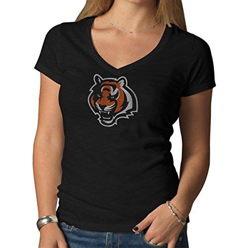Cincinnati Bengals Shirt (NFL Cincinnati Bengals Women's V-Neck Scrum Tee, Jet Black, X-Large)
