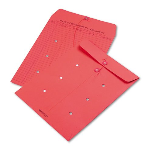 (Quality Park Colored Paper String & Button Interoffice Envelope, 10 x 13, Red,)
