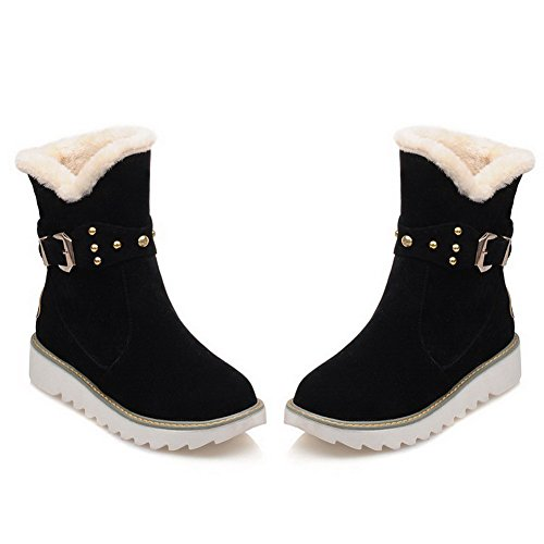 AmoonyFashion Womens Imitated Suede Low-top Solid Pull-on Low-Heels Snow-Boots Black 1FYQvyi