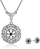 """Downton Abbey Boxed Silver-Tone Pendant Necklace and Stud Earrings Jewelry Set, 16"""""""