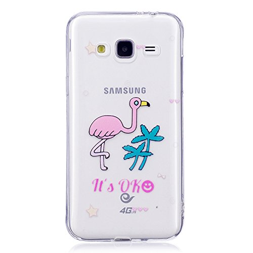 J3 2016 Case, Samsung J3 2016 Soft Case, Samsung Galaxy J310 Clear Back Cover, Cozy Hut Ultra Light Slim Shockproof Silicone TPU Gel Case [Ultra-Thin] [Lightweight] [Anti-Scratch] [Drop Protection] Tr Cartoon flamingo