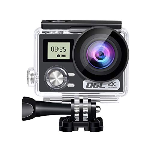 """WiFi Action Camera 4K 24MP Ultra HD Remote EIS Sports Waterproof Camera 100Ft Underwater OGL 2"""" LCD 170° Wide Angle 2 Rechargeable Batteries Mounting Accessories Kits (Upgraded 24MP 128GB)"""