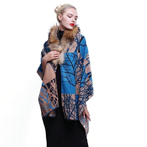 URSFUR ÉCharpe Châle Femme Orné Col Fourrure Foulard Châle Chaud Hiver  Arbre  Amazon.fr  Vêtements et accessoires 7d8e78c356e