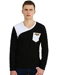 Allegra K Men V Neck Contrast Color Chest Pocket Long Sleeves T-Shirt